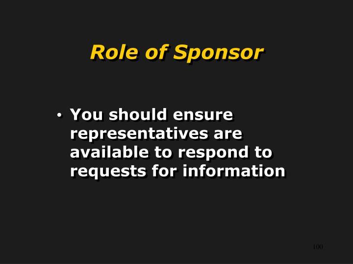 Role of Sponsor