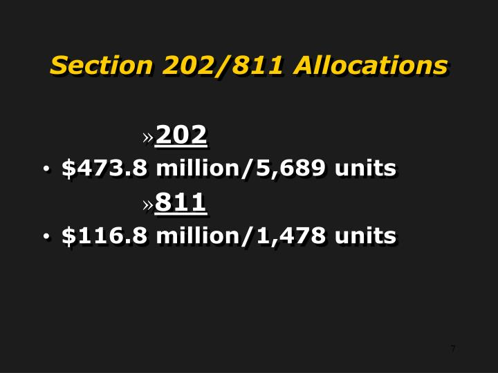 Section 202/811 Allocations