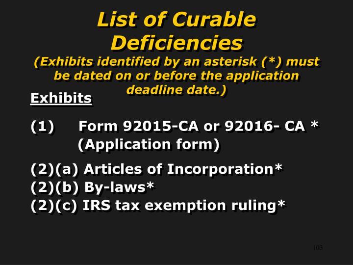 List of Curable Deficiencies