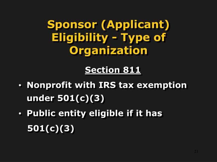 Sponsor (Applicant) Eligibility - Type of Organization