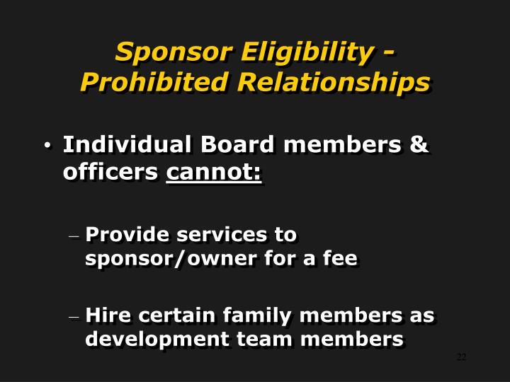 Sponsor Eligibility -
