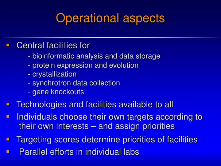 Operational aspects