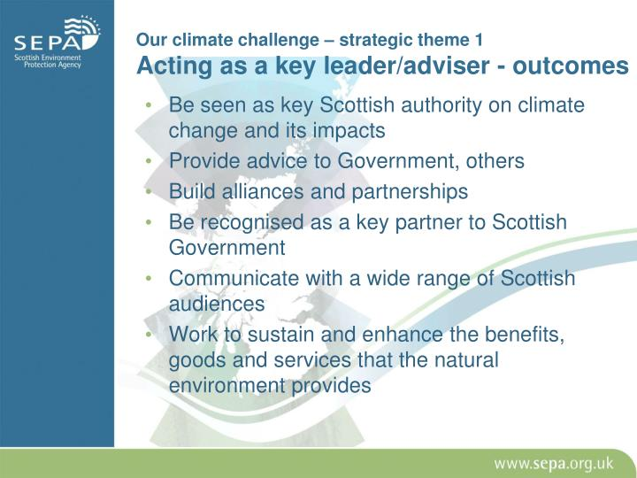 Our climate challenge – strategic theme 1