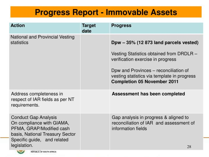 Progress Report - Immovable Assets