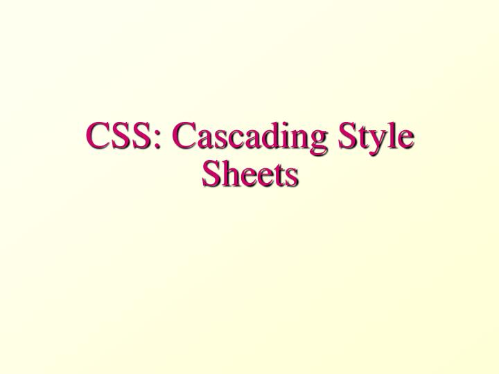 css cascading style sheets n.