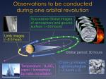observations to be conducted during one orbital revolution