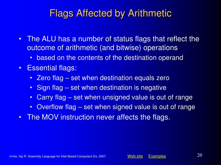 Flags Affected by Arithmetic