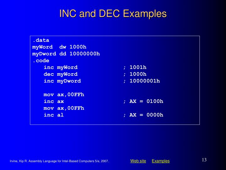 INC and DEC Examples