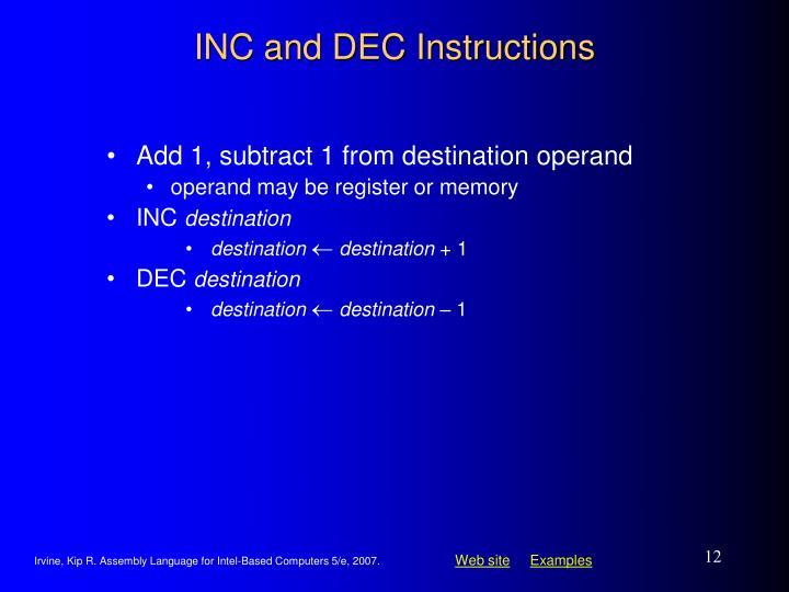 INC and DEC Instructions