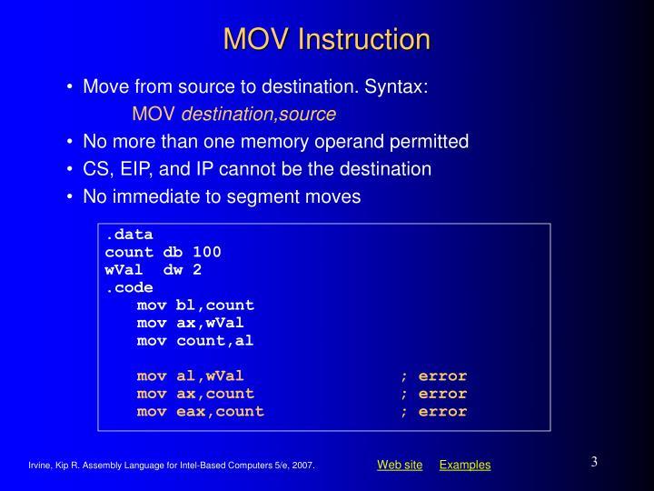 Mov instruction