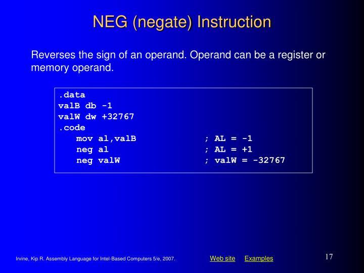 NEG (negate) Instruction