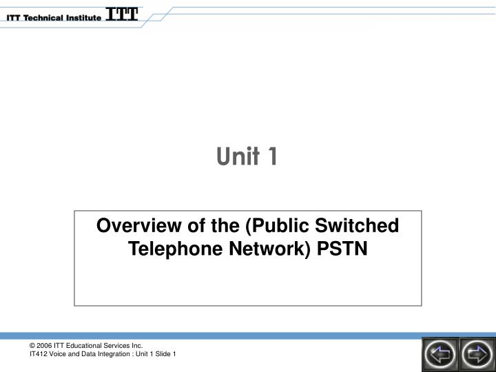 Overview of the (Public Switched Telephone Network) PSTN