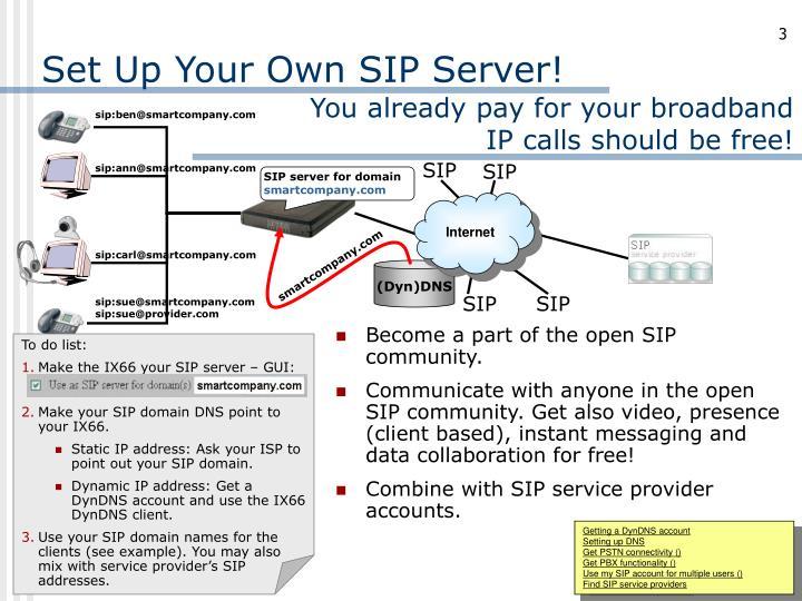 Set up your own sip server