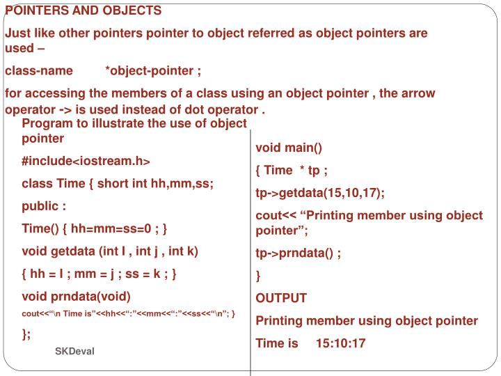 POINTERS AND OBJECTS