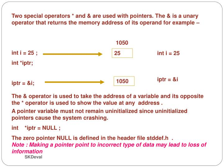 Two special operators * and & are used with pointers. The & is a unary operator that returns the memory address of its operand for example –