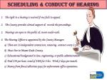 scheduling conduct of hearing