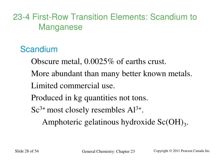 23-4 First-Row Transition Elements: Scandium to Manganese