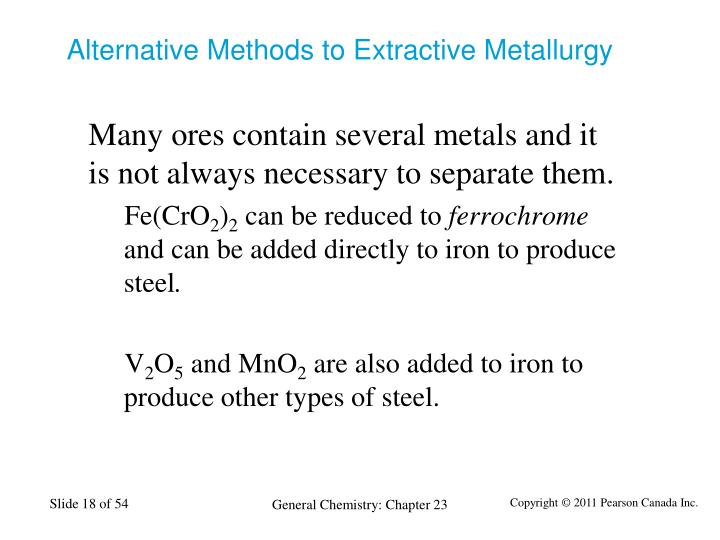 Alternative Methods to Extractive Metallurgy