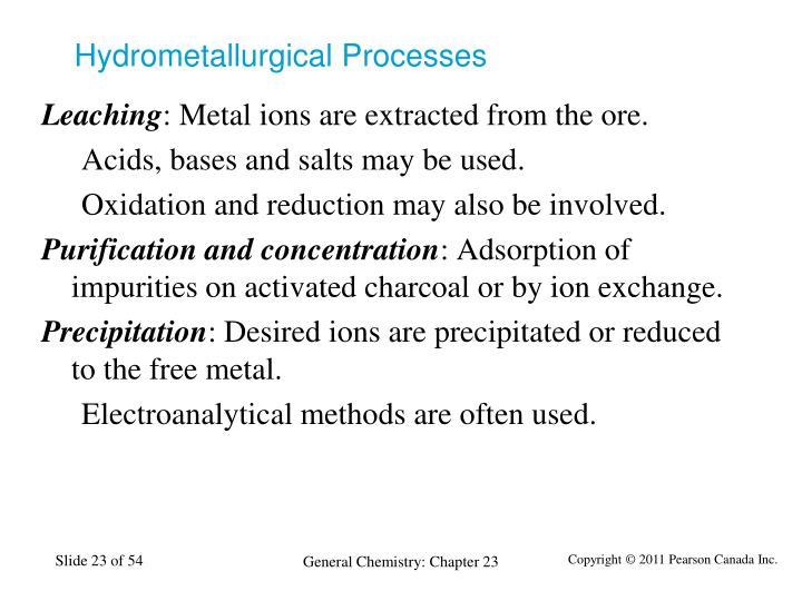Hydrometallurgical Processes