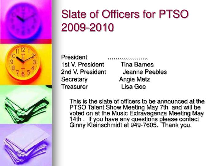 Slate of officers for ptso 2009 2010