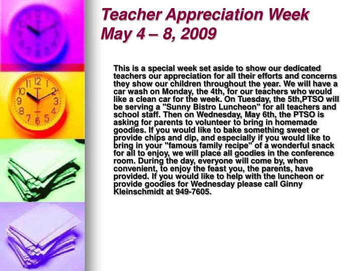 Teacher appreciation week may 4 8 2009