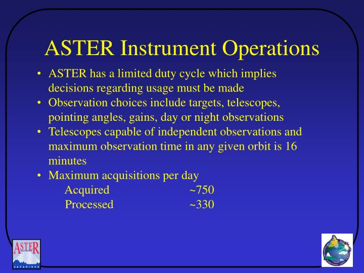 ASTER Instrument Operations