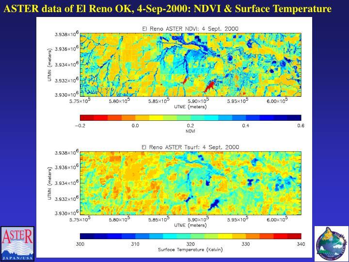 ASTER data of El Reno OK, 4-Sep-2000: NDVI & Surface Temperature