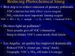 reducing photochemical smog