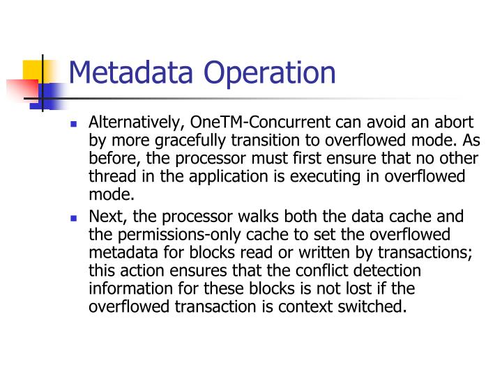 Metadata Operation