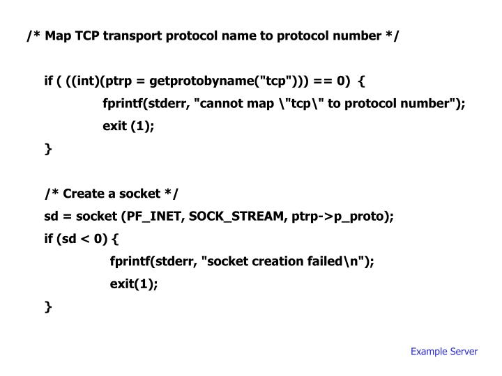 /* Map TCP transport protocol name to protocol number */