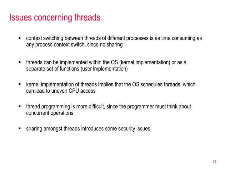 Issues concerning threads