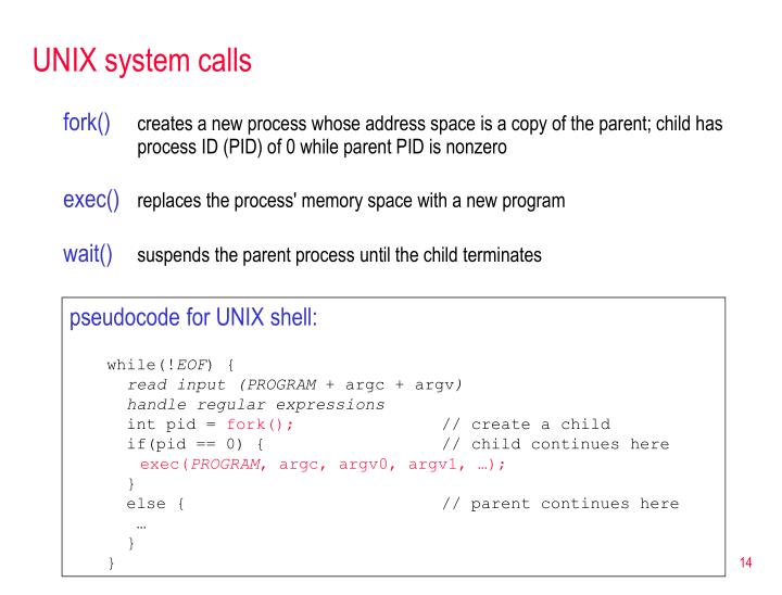 UNIX system calls