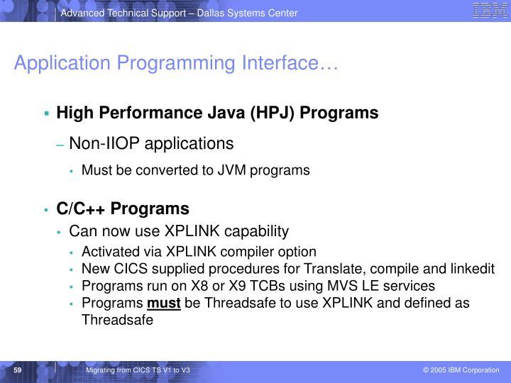 Application Programming Interface…