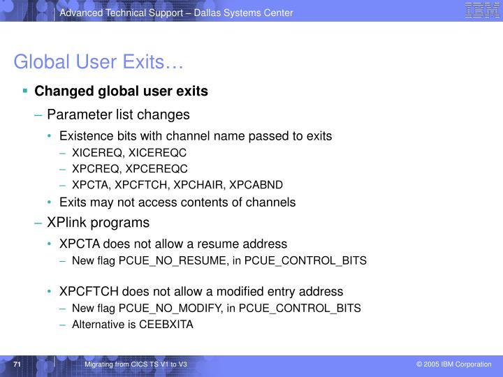 Global User Exits…