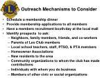 outreach mechanisms to consider