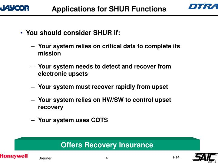 Applications for SHUR Functions