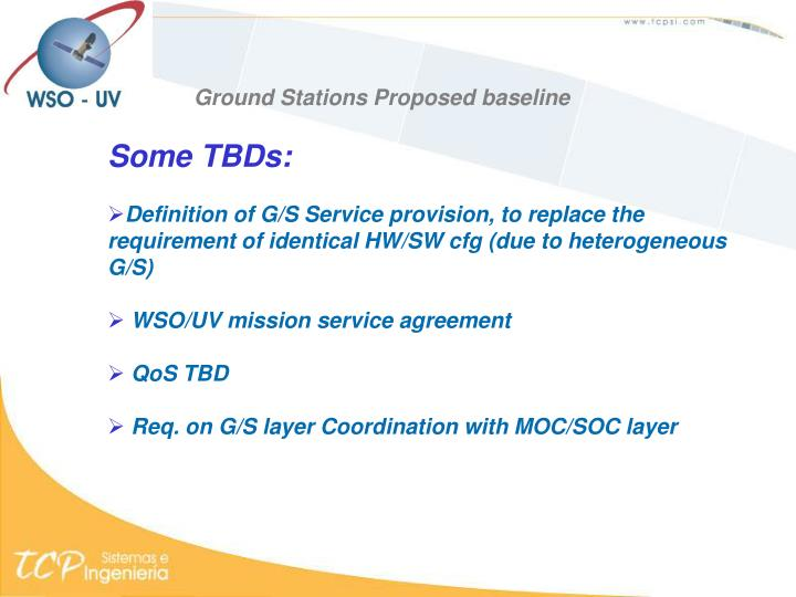 Ground Stations Proposed baseline