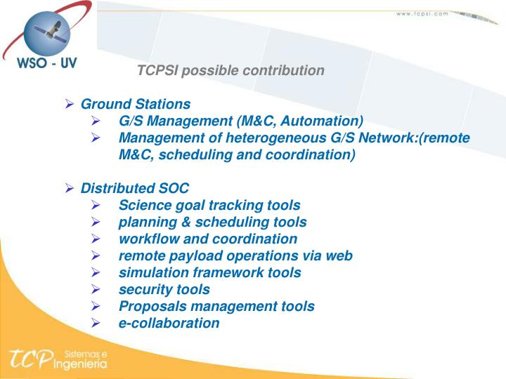 TCPSI possible contribution