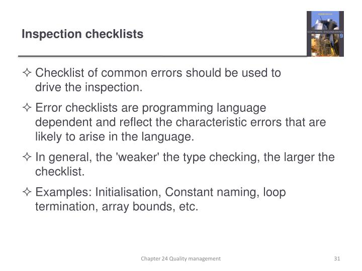 Checklist of common errors should be used to