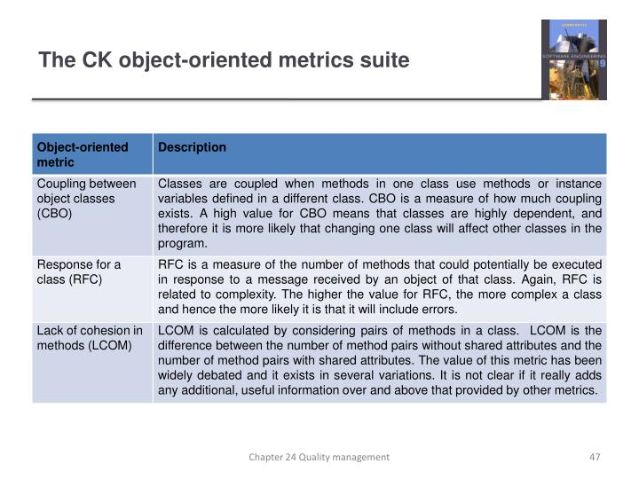 The CK object-oriented metrics suite