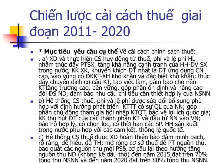 Chiến lược cải cách thuế  giai đoạn 2011- 2020