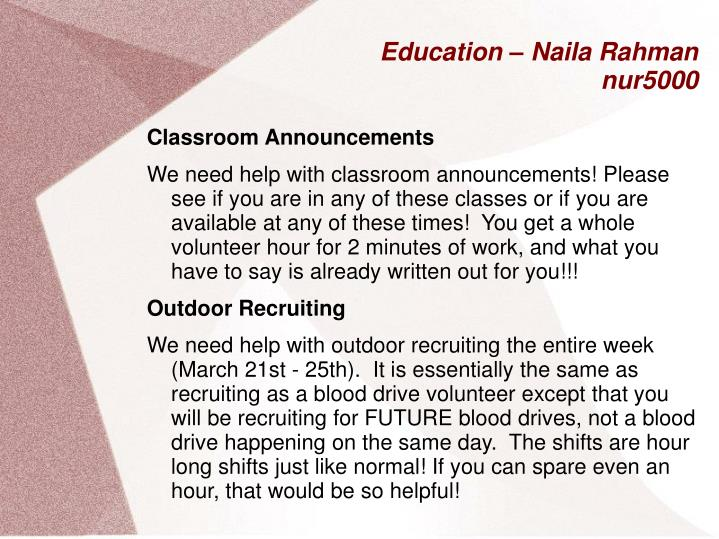 Education – Naila Rahman