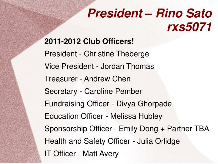 President rino sato rxs5071