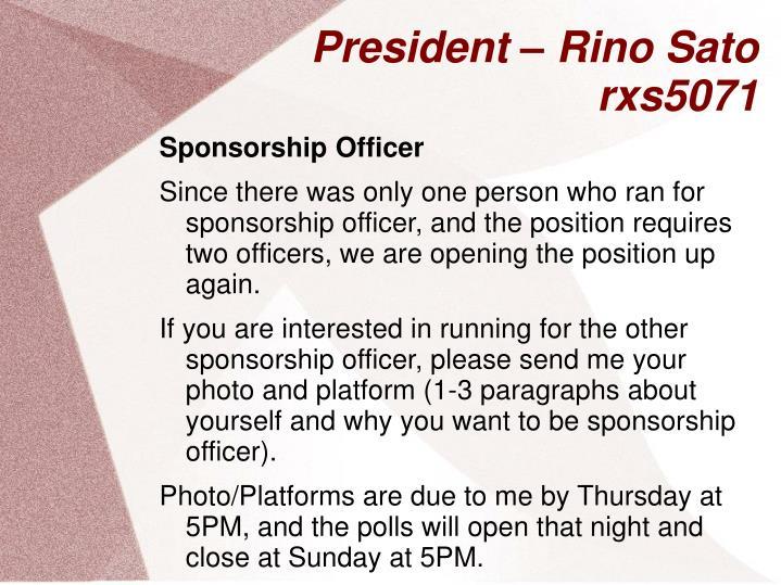 President rino sato rxs50711