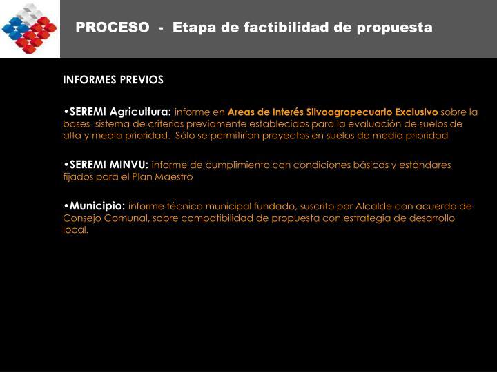 PROCESO  -  Etapa de factibilidad de propuesta