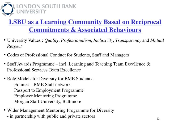 LSBU as a Learning Community Based on Reciprocal Commitments & Associated Behaviours