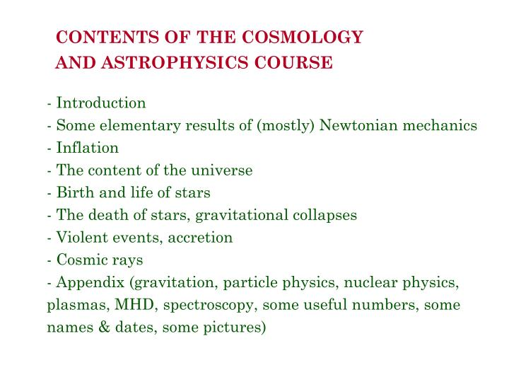 CONTENTS OF