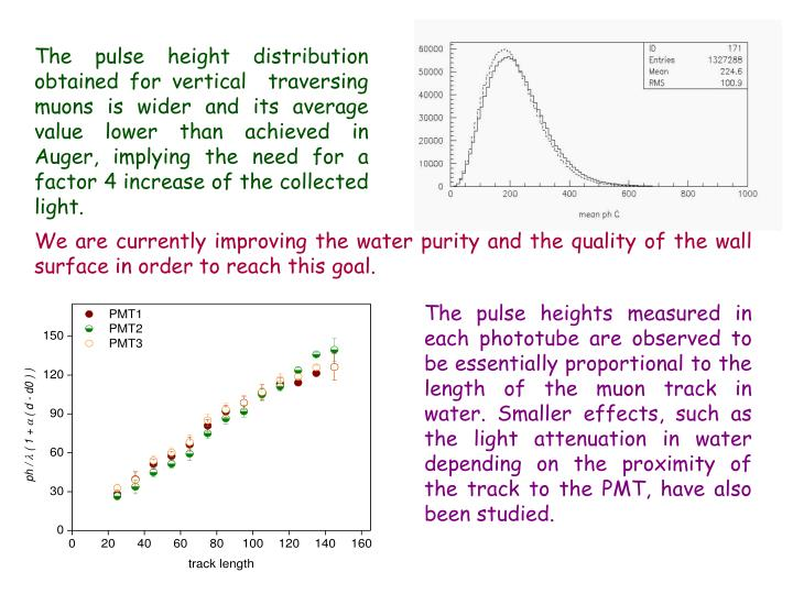The pulse height distribution obtained for vertical  traversing muons is wider and its average value lower than achieved in Auger, implying the need for a factor 4 increase of the collected light.
