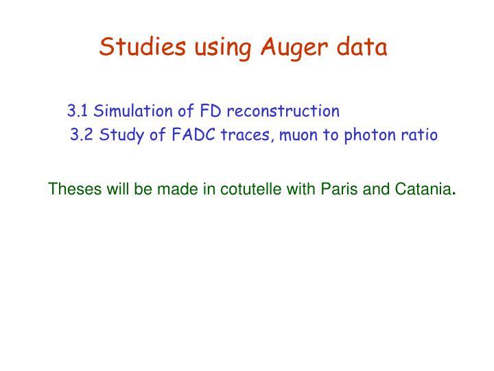 Studies using Auger data