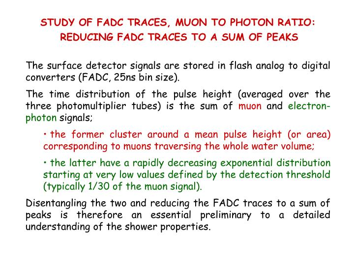 STUDY OF FADC TRACES, MUON TO PHOTON RATIO: